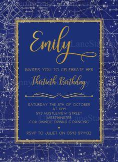 Blue Birthday Invitations Navy Invites 30th