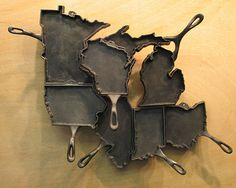 Midwestern states of the #USA - #map using cast iron pans - art piece by Alisa Toninato