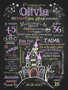 Affiche personnalisée anniversaire Belle princesse • La Craie co.