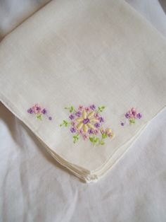 Vintage Hankie with Purple Flowers by jclairep on Etsy, $4.00
