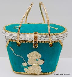 "Vintage ""Midas of Miami"" Poodle Wicker Purse 