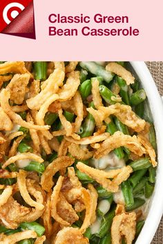 Preheat oven to 375. Spray 16 muffin-pan cups with cooking spray. Stir 4 C cooked, cut green beans, 10-oz can Campbell's Condensed Cream of Mushroom Soup, ½ C milk, 1 C shredded cheese & 2/3 cup French fried onions in a bowl. Roll 16 refrigerated biscuits each into a 4-inch circle. Press the biscuits into the bottoms & sides of the muffin-pan cups. Divide the green bean mixture among the biscuits. Bake 20 min. Sprinkle more fried onions & cheese. Bake 5 min. Enjoy! Shop ingredients at… Side Dish Recipes, Veggie Recipes, Real Food Recipes, Cooking Recipes, Healthy Recipes, Fruit Dishes, Food Dishes, Main Dishes, Fun Food