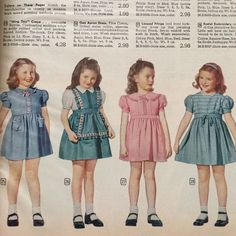 1945 girls dresses from the Montgomery Ward catalog. Vintage Kids Fashion, Vintage Outfits, 1940s Fashion, Vintage Children, Vintage Dresses, Girl Fashion, Dolly Fashion, Retro, Fashion Illustration Vintage