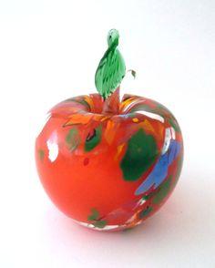 Beranek Glassworks Rene Roubicek 7600 -- very large orange glass apple -- Czech art glass