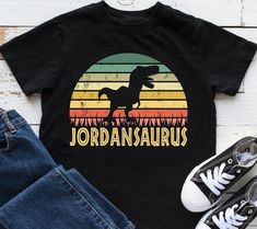 Dinosaur Shirt Personalized with your name. Your little dinosaur lover will love this cute personalized dinosaur T-Shirt. Makes a great birthday gift. 100% cotton. KidsPartyWorks Kids Birthday Gifts, Dinosaur Birthday Party, Sons Birthday, Birthday Shirts, Birthday Party Themes, Dinosaur Shirt, Birthday Design, Party Ideas, Gift Ideas
