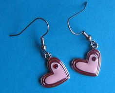 Pink and Red Heart Earrings