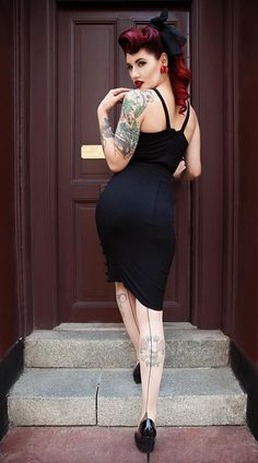 Perfect for any occasion, adorable black pencil dress... http://rockabillyclothingstore.com/rockabilly-style/