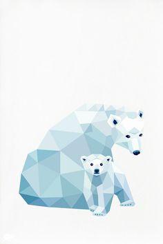 Diseño poligonal família osos polares