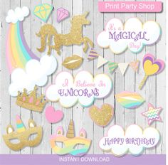 Unicorn Party Photobooth Props / Printable File / Instant Download / Pink and Gold