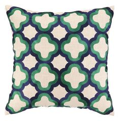 Quatrefoil Pillow - Navy & Green. This would be a nice color scheme ...