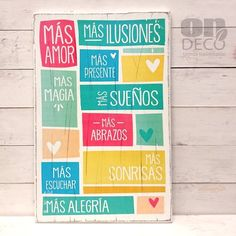 Cartel | Más amor colores... - comprar online Vintage Frases, Deco Paint, Happy Design, Painting Quotes, Simple Prints, Diy Home Crafts, Cute Quotes, Wood Signs, Decoupage