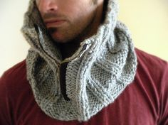 Man Cowl Gray Grey Marble gift for him by KittyDune on Etsy, $50.00