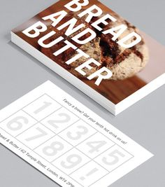 Bread and Butter: let your food do the talking in this bold design, which overlays confident typography against a colourful backdrop of your choice. Reverse side a loyalty card with your key details on the bottom – the best of both worlds! Business Card Maker, Square Business Cards, Free Business Cards, Unique Business Cards, Professional Business Cards, Business Card Design, Loyalty Card Design, Loyalty Cards, Cafe Menu Design