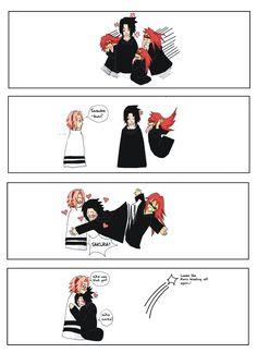 I'm sure Sasukes like: Sakura isn't as annoying as Karin. At least Sakura can be can be cute sometimes Karin is disgusting all the time Naruto Uzumaki, Sasuke Uchiha Sakura Haruno, Naruto Cute, Naruto Funny, Sasusaku Doujinshi, Sasusaku Lemon, Sasuhina, Narusaku, Sasunaru
