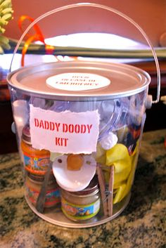 diapers  diaper rash cream  gloves  goggles (home depot, about $2.50)  face mask (home depot, about $2.00 for 1)  clothes pin for your nose  tongs for diaper disposal  hand sanitizer (travel size)  baby wash (travel size)  wash cloth  baby food  spoon  pacifier  bottle  baby sockies  wipes (travel size)  tylenol...for daddy