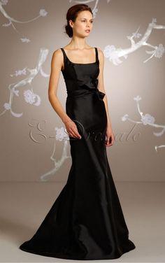 Black A-line Spaghetti Straps Floor-length bridesmaid dresses - 4p105 - a20212072902