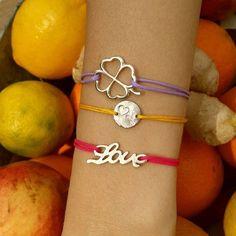 Cupid's Arrow string bracelet, Love cord bracelet and Four-leaved Clover Bracelet