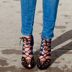 RARE Zara lace up heels blue black sz 6.5 gorgeous rich looking heels from Zara very hard to find. wore twice lace up blue black Zara Shoes Heels