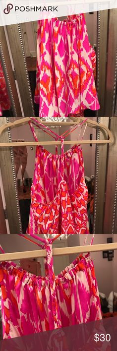 Alice & Trixie Silk Ikat Patterned Tank 100% silk beautiful top! Worn maybe once or twice. Cute braided back. Tagged LP just for exposure! Lilly Pulitzer Tops Tank Tops