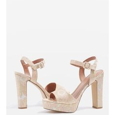 Topshop Milan Embroidered Platform Sandals (745 EGP) ❤ liked on Polyvore featuring shoes, sandals, ankle tie sandals, high platform sandals, high heel platform shoes, topshop sandals and high heel platform sandals