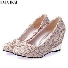 Aliexpress.com: Comprar 2015 primavera y verano para mujer encaje zapatos  mujeres Wedges Red