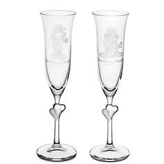 Personalizable Minnie and Mickey Mouse glass flute set by Arribas