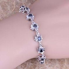 Tantalizing Black Sapphire 925 Sterling Silver Overlay Link Chain Bracelet 7 - 8 inch Free Shipping & Gift Bag S0551  #bracelets #weddingjewelry #jewellery #pendants #designerdivajewelry