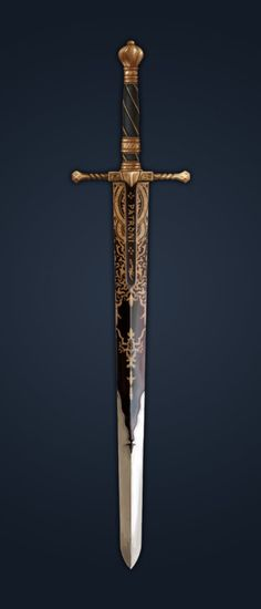 RPG RULES sword inlaid with gold, spiraled hilt perfect for a paladin - or a found item Holy Avenger? Swords And Daggers, Knives And Swords, Katana Swords, Armas Ninja, Cool Swords, Sword Design, Armadura Medieval, Fantasy Sword, 3d Modelle