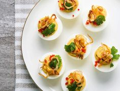 Thai-Style Deviled Eggs A fun twist on a classic, these are seriously addictive. Egg Recipes, Cooking Recipes, Healthy Recipes, Healthy Breakfasts, Thai Recipes, Healthy Snacks, Snack Recipes, Omelettes, Tortillas