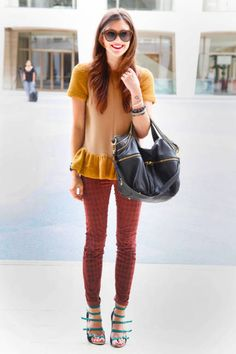 love the mustard top and printed denim