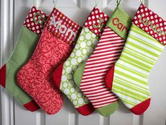 Anyone...... Personalized Christmas stockings with a name or a sports team name. These can be done up in modern fabrics, reproduction fabrics or even strip pieced (quilted)! Have fun with this sewing project!