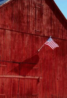 Old Glory Above Barn Doors