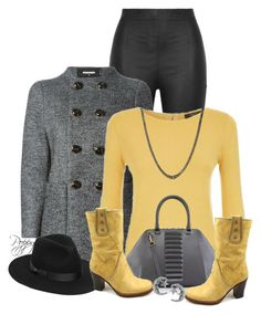 """""""Black, Gray & Yellow"""" by bainbridgegal ❤ liked on Polyvore featuring Armani Jeans, Dsquared2, Weekend Max Mara, Kristina George, Frye, Lack of Color, David Yurman and Journee Collection"""