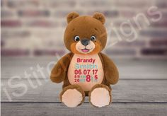 A personal favorite from my Etsy shop https://www.etsy.com/listing/526910004/bear-personalized-stuffed-animal-birth