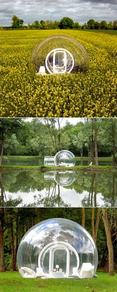 Awesome bed and breakfast bubble tents.  These are for real, you can rent them in France.  I would love to spend the night in one ;-)