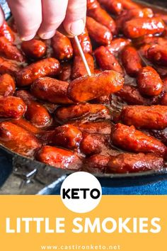 These Keto Little Smokies make a great low carb holiday appetizer or snack. Also called cocktail sausages, cocktail weenies, or lil smokies these are a hit with just about everyone. carb snacks, Keto Little Smokies Low Carb Appetizers, Great Appetizers, Holiday Appetizers, Cheese Appetizers, Party Appetizers, Cocktail Weenies, Cocktail Sausages, Cocktail Sausage Recipes, Ketogenic Recipes