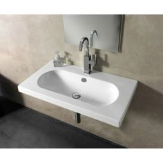 """EDO Wide Ceramic Bathroom Sink with Overflow Faucet Mount: 8"""" Centers - Touch On Bathroom Sink Faucets - Amazon.com"""