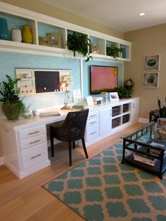 Build in a desk, storage and TV area in a family room