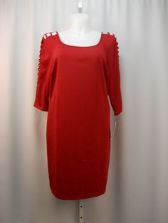 Trixxi Red Cut Out 3/4 Sleeves Scoop Neck Pencil Dress  Size 22  #Trixxi #WigglePencil #Clubwear