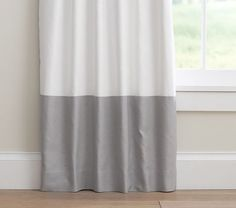 Linen Color Block Blackout Panel Gray I Love This White And Curtains For Es Room Like The Pop Of Against Walls Then