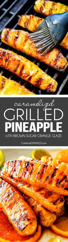the BEST Caramelized Grilled Pineapple glazed with the moist irresistible buttery, sweet, tangy Brown Sugar Orange Glaze! You will never want to eat pineapple any other way again! Serve it as an easy appetizer, side or even dessert all summer long!