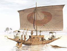 何やら賑やかしい帆船が来るわ haru-mejiro: A New Kingdom craft on the Nile. Ancient Egyptian Art, Ancient Aliens, Ancient Greece, Ancient History, Naval History, European History, American History, Machu Picchu, Armada