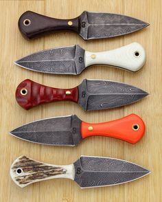 Dagger neck knives with our own High Carbon Vanadium Damascus
