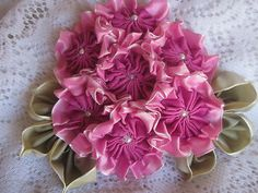 I ❤ ribbonwork. . .  French Ombre Vintage Style Millinery Ribbon Flower Pin Corsage Geranium Style