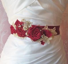 Hey, I found this really awesome Etsy listing at https://www.etsy.com/listing/165888499/red-bridal-sash-with-champagne-lace
