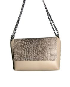 """""""Echo"""" Pink nude & croco Black Leather Bags, Stitch Design, Hand Stitching, Leather Shoulder Bag, Nude, Chain, Detail, Pink, Fashion"""