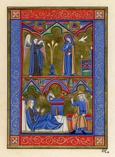 Annonciation - Moyen Âge Medieval Tapestry, Medieval Books, Medieval Manuscript, Medieval Art, Illuminated Letters, Illuminated Manuscript, Beautiful Calligraphy, Book Of Hours, Romanesque
