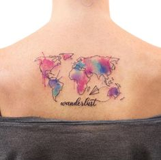 Watercolor travel tattoo by Joice Wang ... Maybe the paper plane with a splash of color?