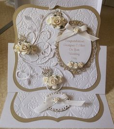 Cheap Wedding Thank You Cards Wedding Cards Handmade, Greeting Cards Handmade, Wedding Gifts, Fancy Fold Cards, Folded Cards, 50th Anniversary Cards, Anniversary Ideas, Step Cards, Engagement Cards