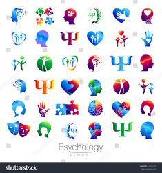 Modern head sign Set of Psychology. Profile Human. Creative style. Symbol in vector. Design concept. Brand company. Green orange blue violet color isolated on white background. Icon for web. Logotype.